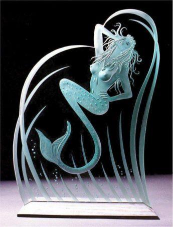 Weston Carved Glass Mermaid
