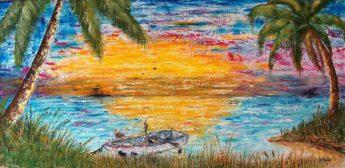 Weston Beach Scene Oil Painting