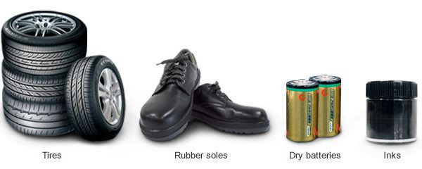 Tires, Rubber soles, Dry batteries and Inks